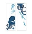 octopus banner vector image vector image