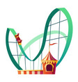 rollercoaster attraction with happy people clipart vector image