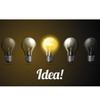 Row of realistic light bulbs with one vector image