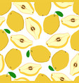 seamless pattern of yellow quince vector image vector image
