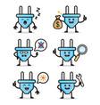 set electric plug character design vector image