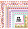 set geometric borders in ethnic style vector image