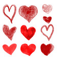 set hand drawn hearts isolated on whit vector image