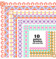 set of geometric borders in ethnic style vector image vector image