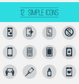 set of simple mobile icons elements front camera vector image vector image