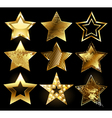 set textured gold stars vector image vector image