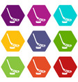 stick and puck icon set color hexahedron vector image vector image