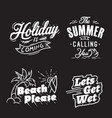 summer typography and holiday words vector image vector image