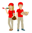 teenager delivery courier with pizza in boxes vector image vector image