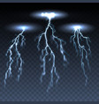 thunderbolts on dark transparent background vector image