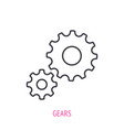 two gears outline icon symbols team work vector image vector image