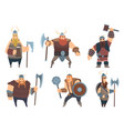 viking characters medieval norwegian warriors vector image vector image