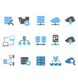 web host icons set blue series vector image vector image