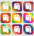 toilet paper icon sign Nine buttons with bright vector image