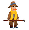 a man in a coat and hat holding a stick in his vector image vector image