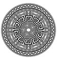 ancient round ornament isolated black meander vector image