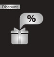 black and white style icon gift box discount vector image vector image