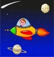 Cartoon boy astronaut in the spaceship vector image vector image
