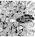 Cartoon hand-drawn Doodle Thanksgiving vector image vector image