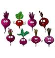 Cartoon isolated purple beet vegetables vector image vector image