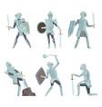 cartoon knights medieval warrior on horse vector image vector image