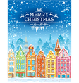 Christmas and New Year holidays card with snowy vector image vector image