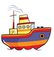 color ship cartoon isolated object on a white vector image vector image