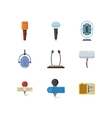 Different microphones and dictaphone flat vector image vector image