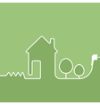 electric wire with plug showing house vector image vector image