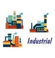 Flat icons of factories and plants vector image vector image
