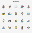 Flat line color icons Technology vector image vector image