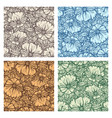 hand drawn flower seamless pattern set vector image vector image