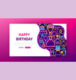happy birthday neon landing page vector image