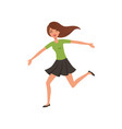 happy brunette girl running jumping with wide open vector image vector image