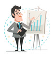 happy businessman giving a presentation vector image vector image