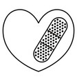 heart cardio with cure bandage vector image vector image