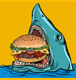 hungry shark eating a burger fast food restaurant vector image