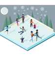 Ice Rink with People Isometric Style vector image