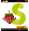letter s with strawberry cartoon vector image