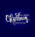 merry christmas hand drawn silver lettering text vector image vector image