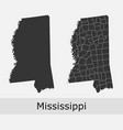 mississippi map counties outline vector image vector image