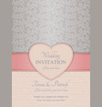 Modern wedding invitation pink and silver vector image vector image