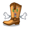 money eye leather cowboy boots shape cartoon funny vector image vector image