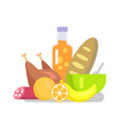 products fruits and meat set vector image vector image