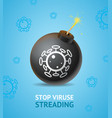 realistic detailed 3d stop virus concept ad poster vector image vector image