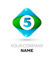 realistic number five in colorful rhombus vector image vector image