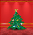 Red room with Christmas tree vector image vector image