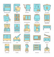 restaurant kitchen equipment icon set in line vector image vector image