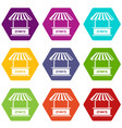 roof stall icons set 9 vector image vector image