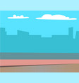 scenery landscape buildings silhouettes at sunrise vector image vector image